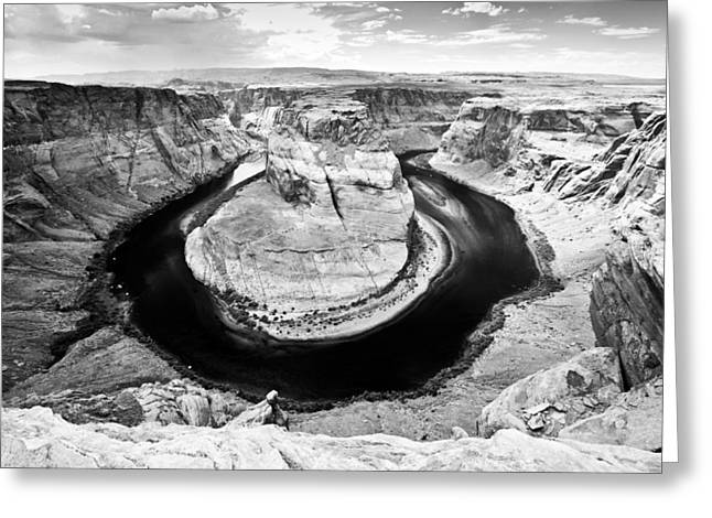 Horseshoe Bend In Page Arizona Black And White Greeting Card by Ryan Kelly