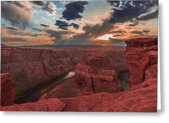 Horseshoe Bend Sunset Greeting Card