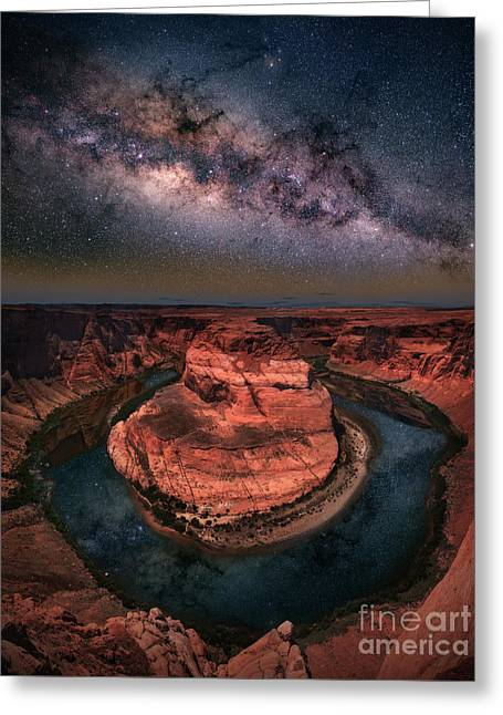 Horseshoe Bend With Milkyway Greeting Card