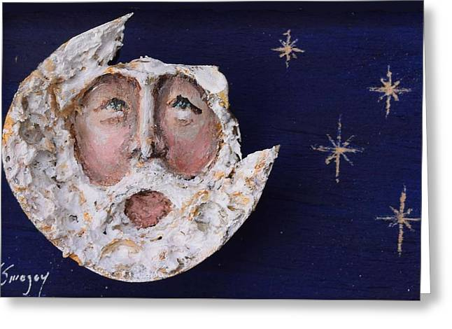 Horseshoe Crab Man In The Moon Greeting Card by Roger Swezey