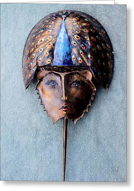 Horseshoe Crab Mask Peacock Helmet Greeting Card by Roger Swezey