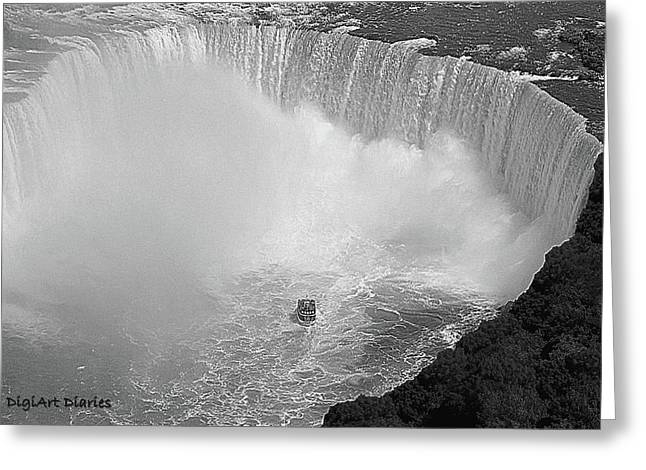Horseshoe Falls Black And White Greeting Card by DigiArt Diaries by Vicky B Fuller