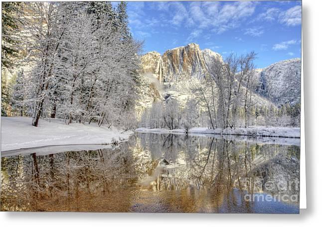 Horsetail Fall Reflections Winter Yosemite National Park Greeting Card