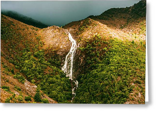 Horsetail Falls In Queenstown Tasmania Greeting Card