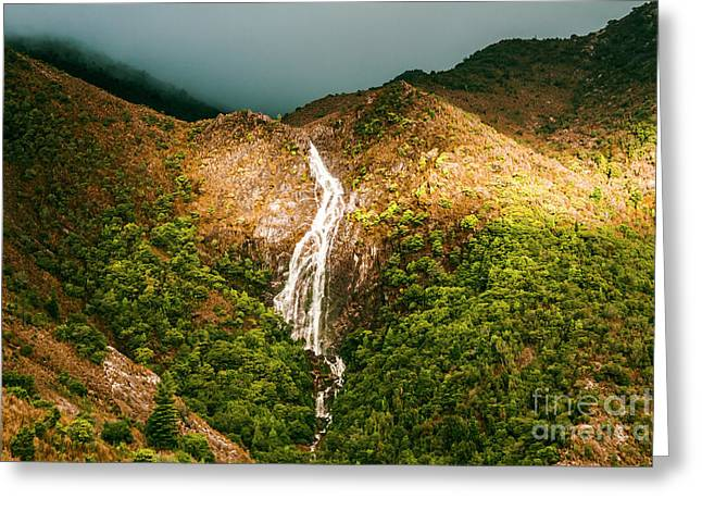 Horsetail Waterfalls Tasmania  Greeting Card by Jorgo Photography - Wall Art Gallery