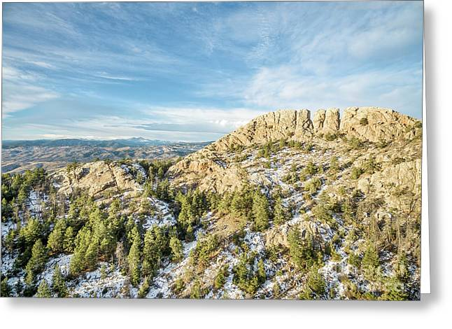 Horsetooth Rock In Winter Greeting Card