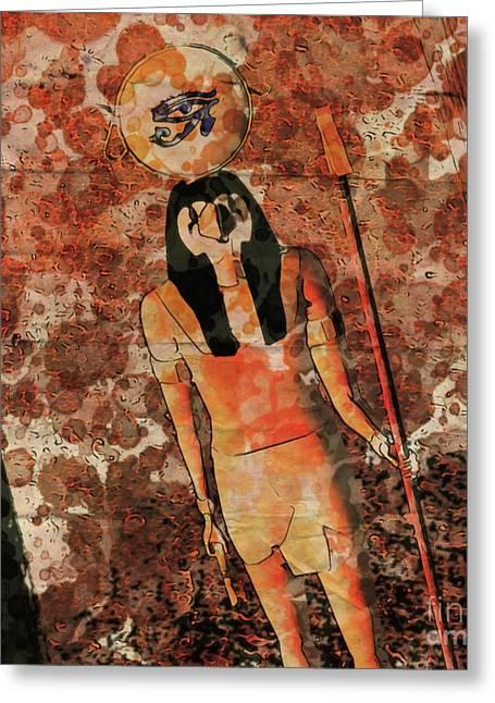 Horus, Egyptian God By Raphael Terra And Mary Bassett Greeting Card