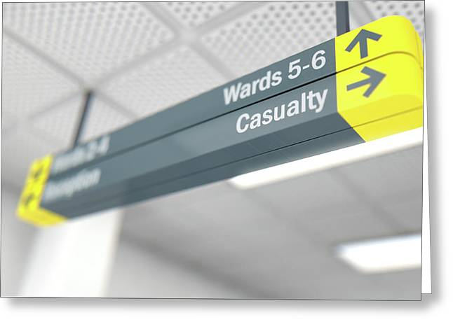 Hospital Directional Sign Casualty Greeting Card