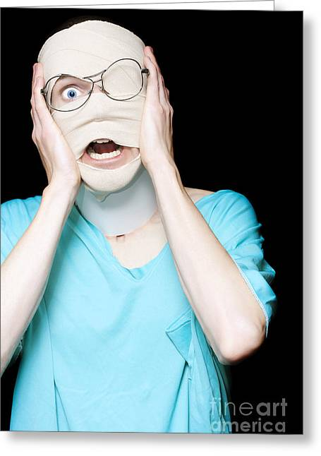 Hospital Trauma Patient Screaming In Terror Greeting Card by Jorgo Photography - Wall Art Gallery