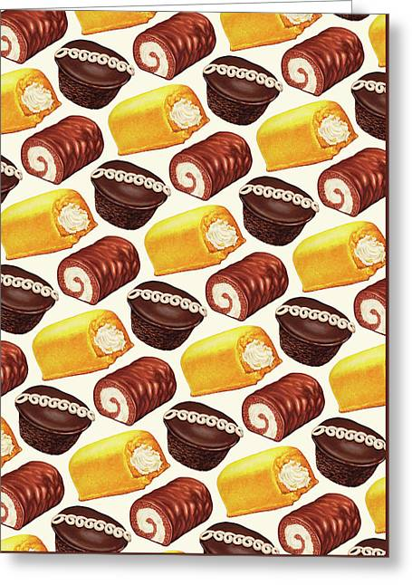 Hostess Cakes Pattern Greeting Card by Kelly Gilleran