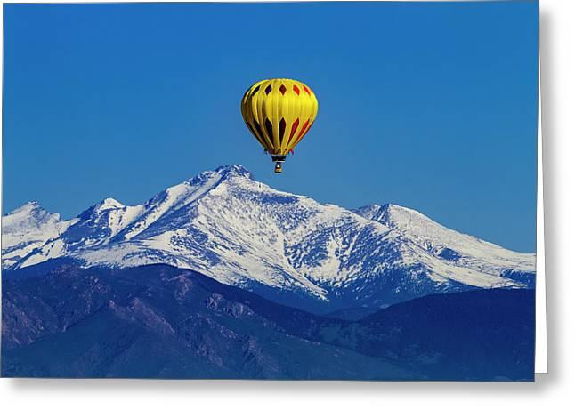 Hot Air Balloon Above The Rockies Greeting Card by Teri Virbickis