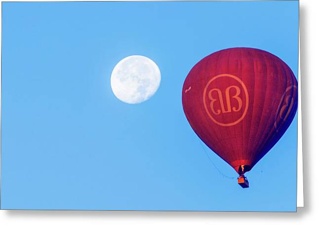 Hot Air Balloon And Moon Greeting Card