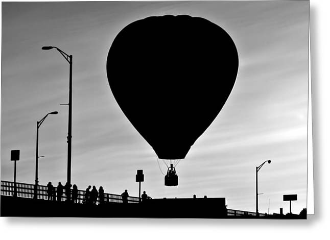 Hot Air Balloon Bridge Crossing Greeting Card by Bob Orsillo