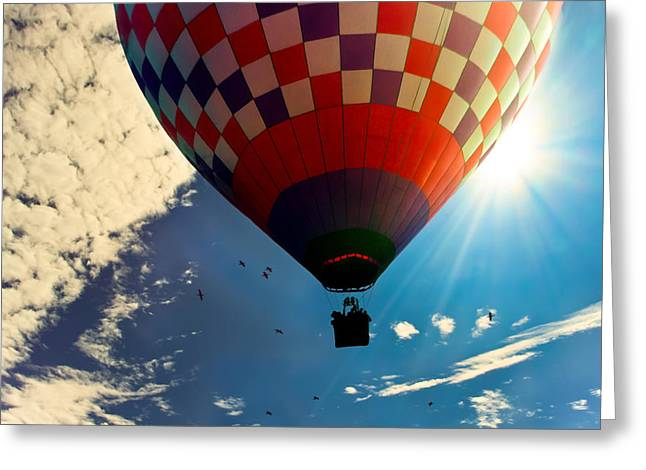 Hot Air Balloon Eclipsing The Sun Greeting Card by Bob Orsillo