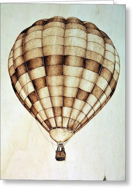 Balloon Pyrography Greeting Cards - Hot air balloon Greeting Card by Ilaria Andreucci