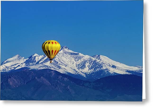 Hot Air Balloon In Colorado Greeting Card by Teri Virbickis