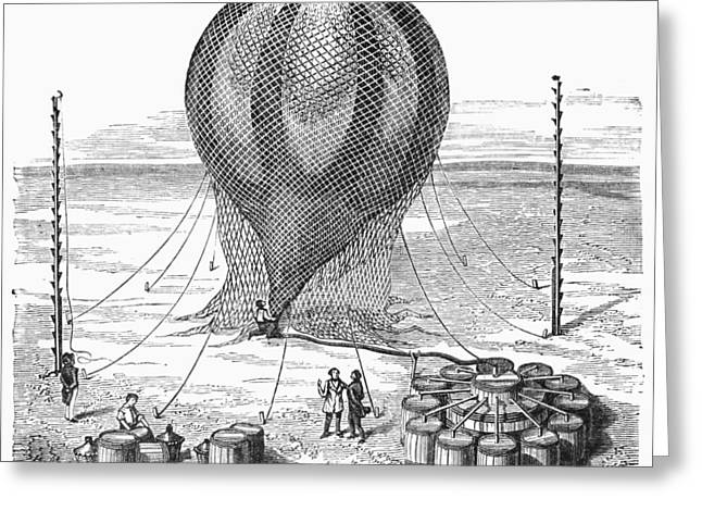 Hot Air Balloon Inflation Greeting Card by Granger