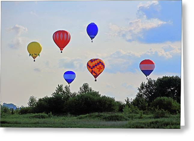 Greeting Card featuring the photograph Hot Air Balloon Launch by Angela Murdock