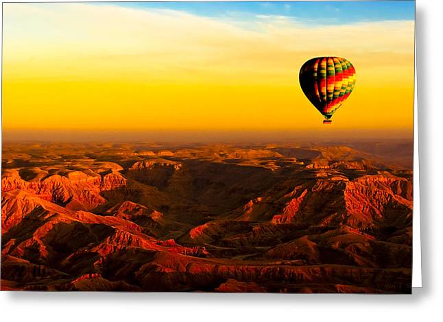 Hot Air Balloon Over Egyptian Valley Of The Kings Greeting Card by Mark E Tisdale