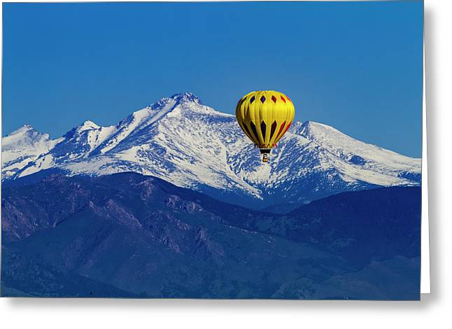 Hot Air Balloon Over Mountains Greeting Card by Teri Virbickis
