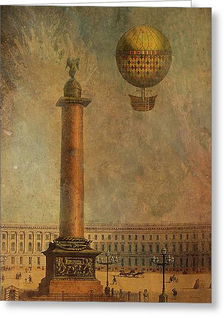 Greeting Card featuring the digital art Hot Air Balloon Over St Petersburg And The Hermitage by Jeff Burgess