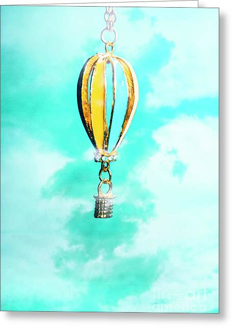 Hot Air Balloon Pendant Over Cloudy Background Greeting Card by Jorgo Photography - Wall Art Gallery
