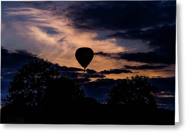 Hot Air Balloon Silhouette At Dusk Greeting Card
