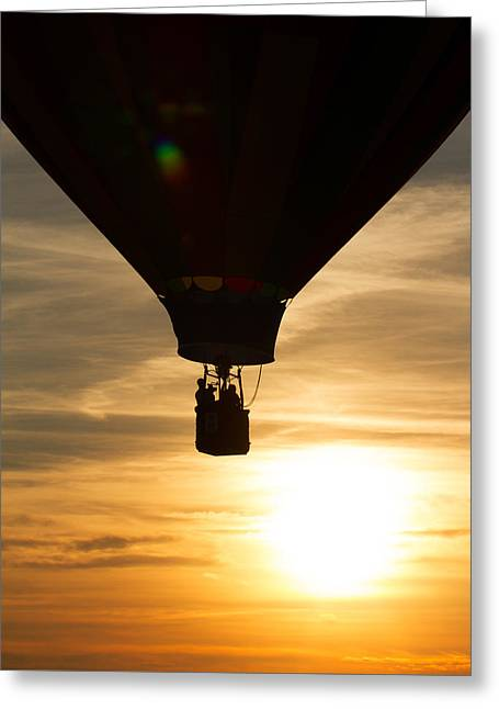 Hot Air Balloon Sunset Silhouette Greeting Card