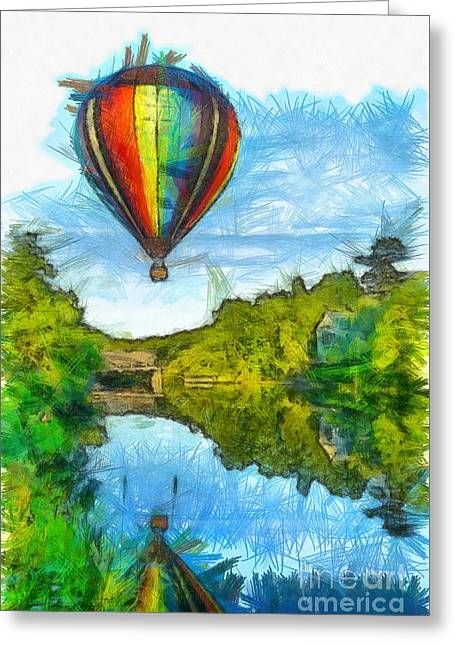 Hot Air Balloon Woodstock Vermont Pencil Greeting Card by Edward Fielding