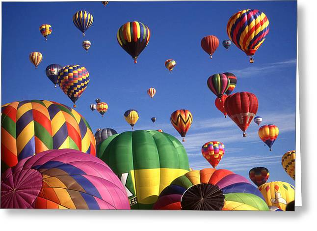 Beautiful Balloons On Blue Sky - Color Photo Greeting Card