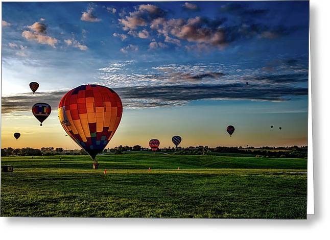 Hot Air Balloons At Sunrise Greeting Card by Mountain Dreams
