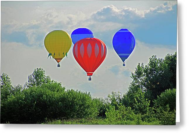 Greeting Card featuring the photograph Hot Air Balloons In The Sky by Angela Murdock