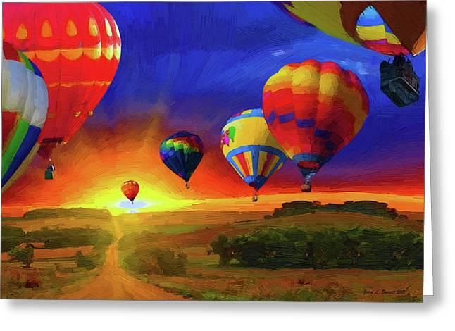 Hot Air Balloon Mixed Media Greeting Cards - Hot Air Balloons Greeting Card by Jerry L Barrett