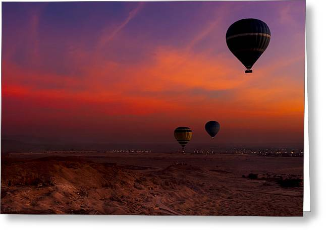 Hot Air Balloons Over Egypt's Valley Of The Kings At Sunrise Greeting Card