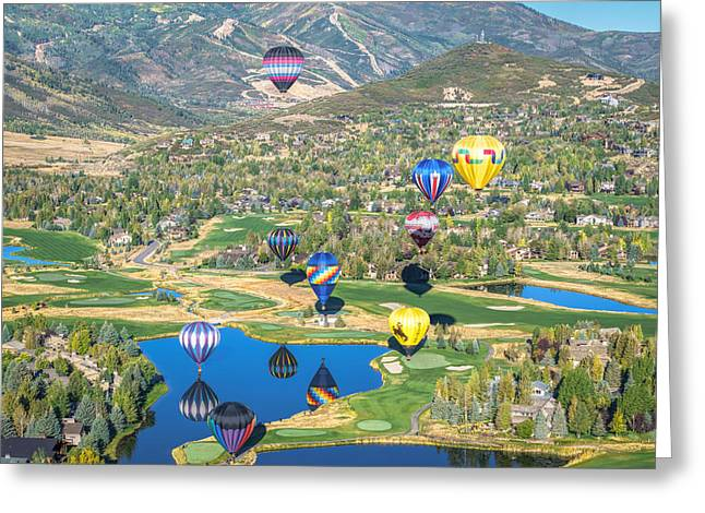 Hot Air Balloons Over Park City Greeting Card