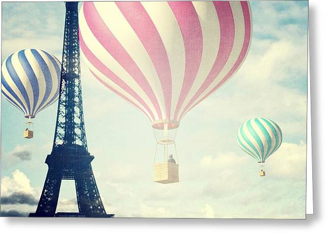 Hot Air Balloons In Paris Greeting Card by Marianna Mills