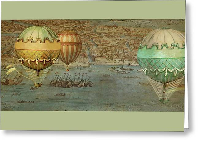 Greeting Card featuring the digital art Hot Air Baloons Over Venus by Jeff Burgess
