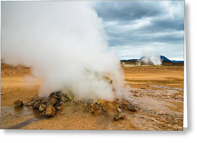 Hot And Steamy Fumarole In Namafjall Iceland Greeting Card by Matthias Hauser