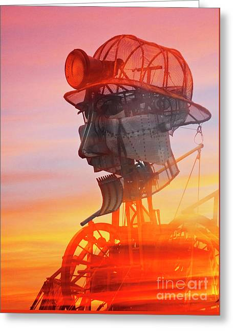 Hot And Steamy Man Engine Greeting Card by Terri Waters