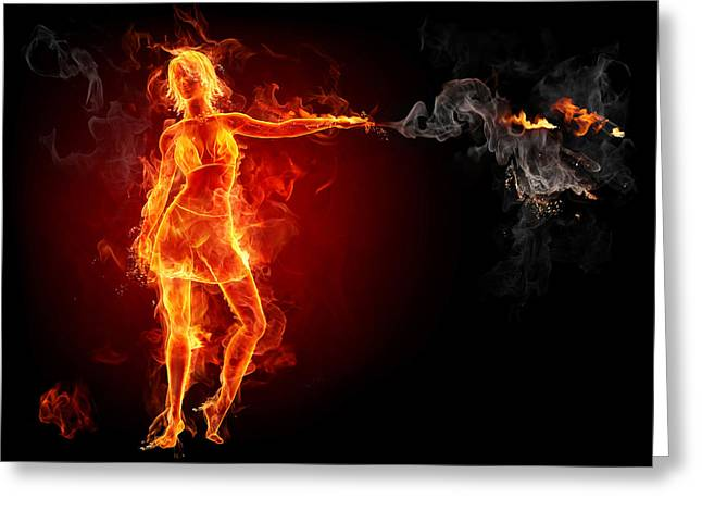 Hot Babe On Fire Hd Greeting Card