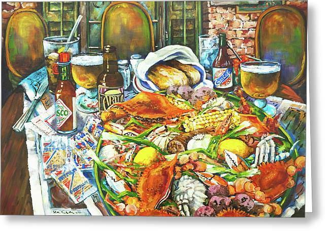 Hot Boiled Crabs Greeting Card