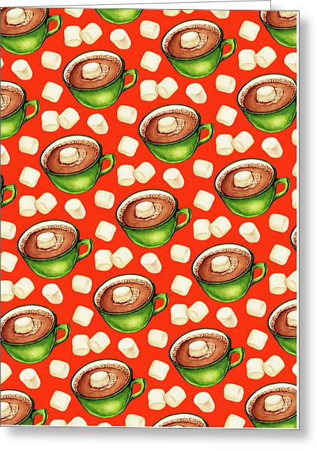 Hot Cocoa Pattern Greeting Card by Kelly Gilleran