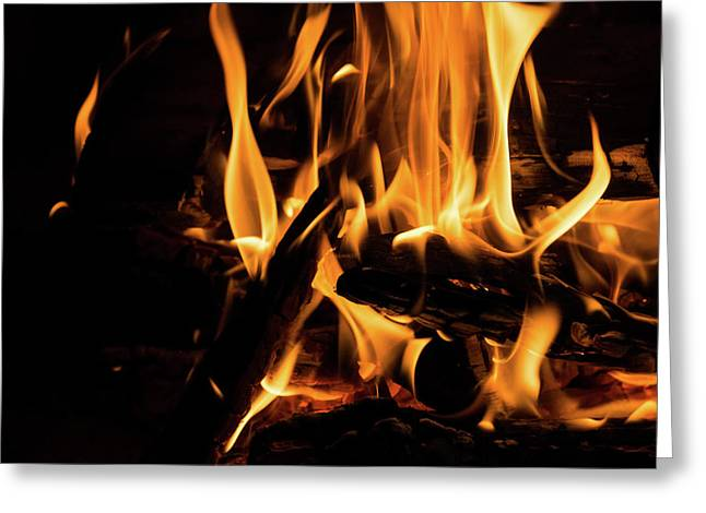 Hot - Crackling Blaze In A Fireplace Greeting Card by Georgia Mizuleva