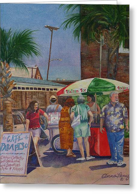 Italian Shopping Paintings Greeting Cards - Hot Day at the Slave Market Greeting Card by Anna Penny