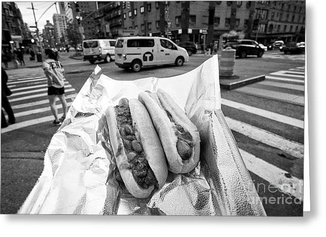 hot dog and chilli dog street food in New York City USA Greeting Card