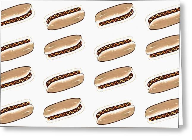 Hot Dog Pattern Greeting Card by Kathleen Sartoris