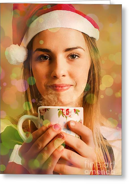 Hot Drinks At Christmas Greeting Card