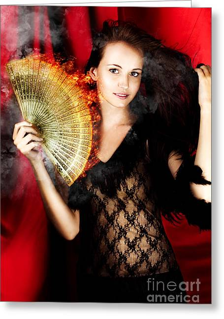 Hot Female Fire Dancer Greeting Card by Jorgo Photography - Wall Art Gallery