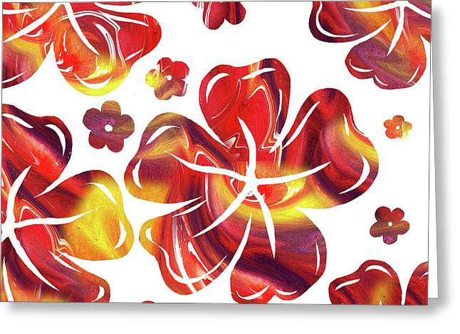 Hot Flowers Dancing Silhouettes Greeting Card