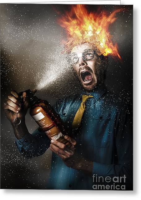 Hot Headed Nerd Businessman Playing With Fire Greeting Card